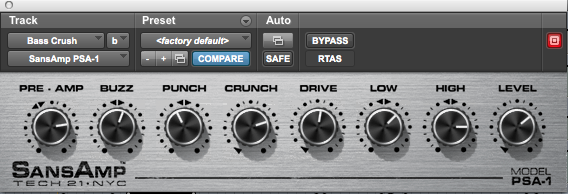 Bass Distortion Settings.  Your mileage may vary.