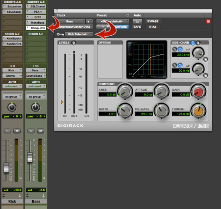 Place the compressor on your bass and set the key input to the same bus you just set up coming from your kick.